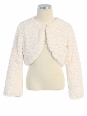 Ivory Feather Faux Fur Jacket w/ Button Closure