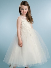 Ivory Floral Beaded Tulle Dress