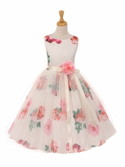 Ivory Floral Print Stretch Taffeta Dress w/ Tulle Overlay