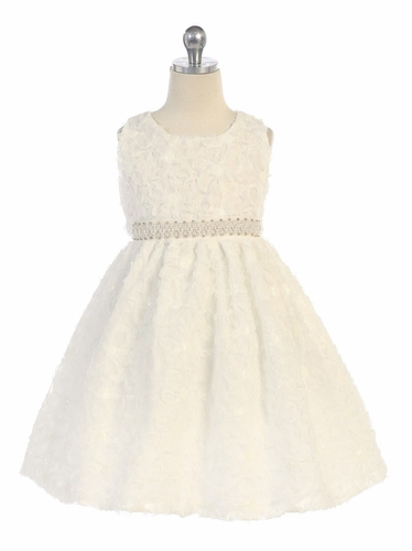 Ivory Floral Ribbon Dress w/ Pearl Waistband