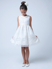 Ivory Flower & Dot Embroidered Organza Dress w/ Collar
