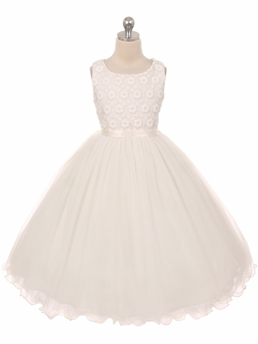Ivory Flower Embroidered Tulle Dress
