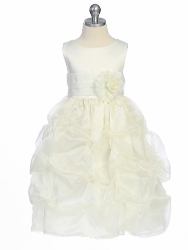 Ivory Flower Girl Dress - Matte Satin Bodice w/ Gathers