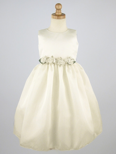 Ivory Flower Girl Dress - Matte Satin Organza Dress