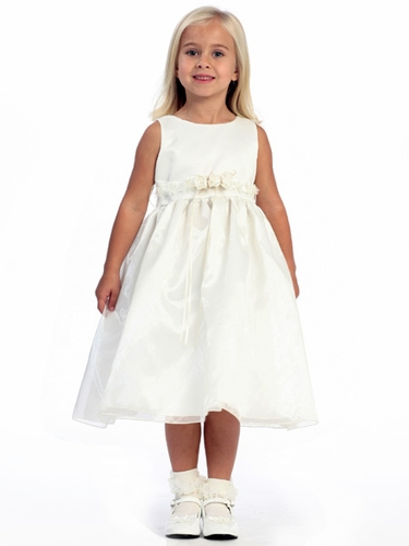 Ivory Flower Girl Dress - Satin Bodice Organza Skirt