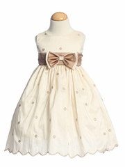 Ivory/Champagne Flower Girl Dresses - Embroidered Polka-Dot Taffeta Dress