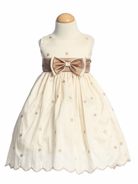 Flower Girl Dresses - Embroidered Polka-Dot Dress w/ Contrasting ...
