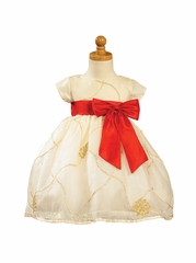 Ivory/Gold Embroidered Organza Dress with Taffeta Waistband