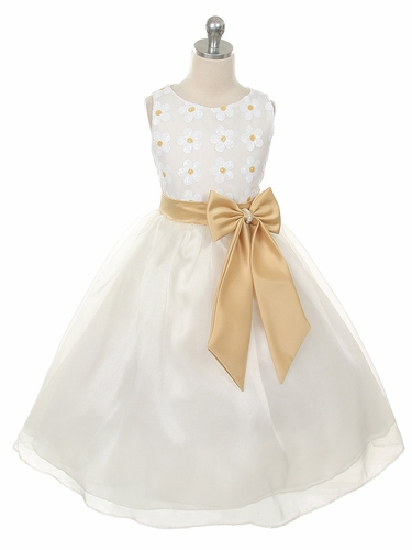Ivory & Gold Floral Lace Top w/ Matching Sash & Organza Skirt
