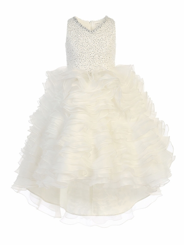 Ivory Gwen and Zoe V-Neck Sparkle Ruffle High Low Dress