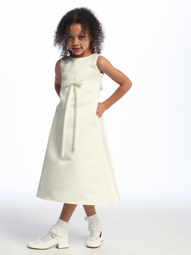 Ivory Flower Girl Dress - Matte Satin A-Line Dress