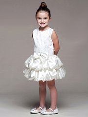 Ivory Lace Bodice w/ Layered Bubble Skirt Dress