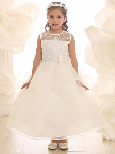 Ivory Lace Flower Bodice Dress w/ Ribbon