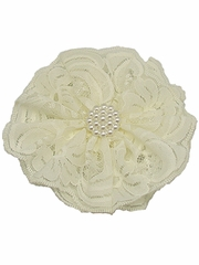 Ivory Lace Flower Clip