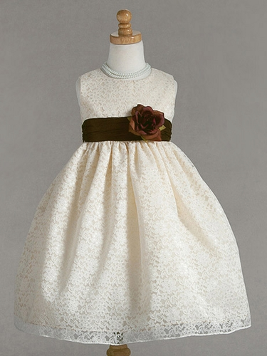 Ivory Lace Pattern Dress w/Brown Polysilk Sash & Flower