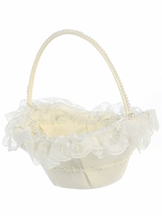 Ivory Lace Trim Basket w/ Pearl Accents