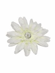 Ivory Large Gerber Daisy Flower on Clip