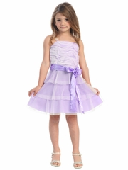 Ivory/Lilac Mesh Embroidered Three Layer Dress