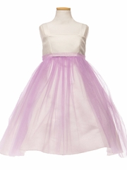 Ivory/ Lilac Satin & Tulle Dress w/ Sash
