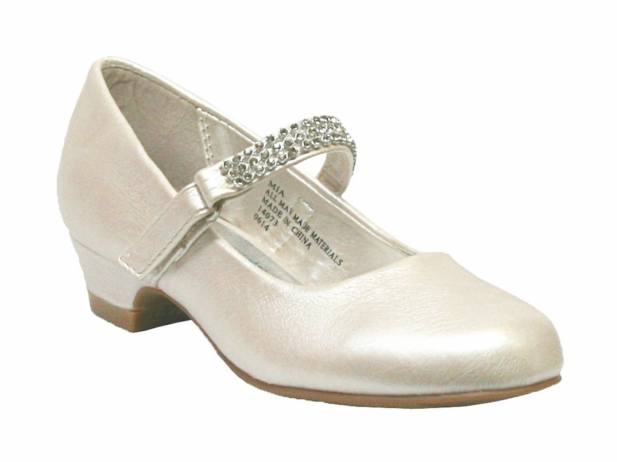ivory low heel dress shoe w rhinestone