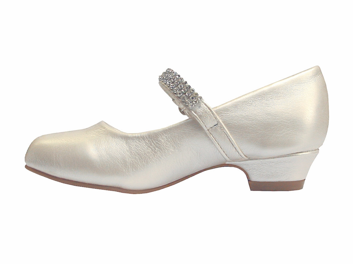Ivory Low Heel Girls Dress Shoe w/ Rhinestone Strap