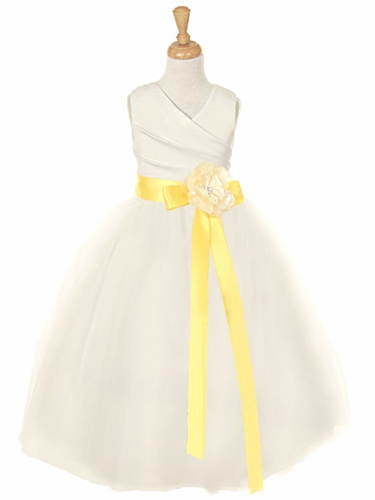 Ivory Matte Satin V-Neck Tulle Skirt Dress w/ Detachable Sash & Flower