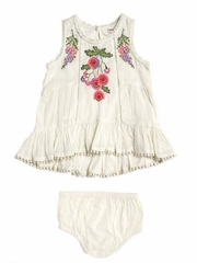 Ivory Mimi & Maggie Botanical Gardens Babies Napa Valley Dress w/ Diaper Cover