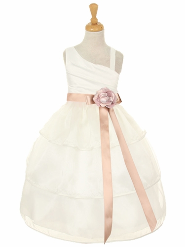 Ivory One Shoulder Bodice w/ 3 Layered Trimmed Organza Skirt