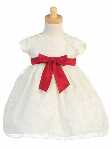 Ivory Organza Burnout Dress w/ Red Ribbon