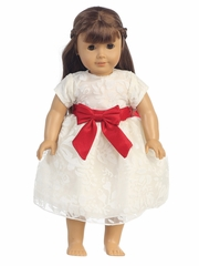 Ivory Organza Burnout w/ Red Ribbon 18� Doll Dress