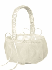Ivory Organza Cover Rose Pattern Design Flower Girl Basket