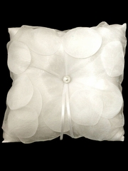 Ivory Organza Cover Rose Pattern Design Ring Bearer Pillow