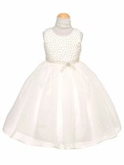 Ivory Organza Dress w/ Beaded Bodice & Rhinestone Sash