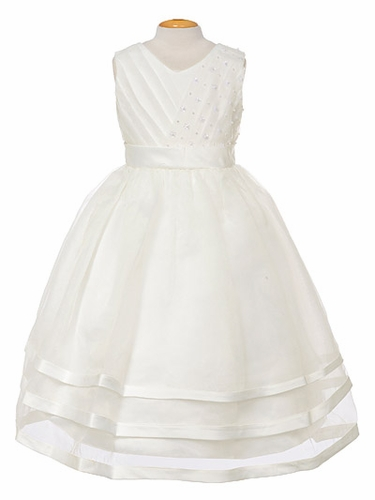 Ivory Organza Embellished V-Neck Three Layer Dress
