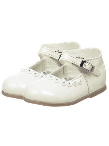 Ivory Patent First Walker Shoes - Chicas by JOSMO Kids