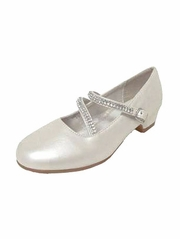 Ivory Patent Low Heel Dress Shoe with Double Rhinestone Straps