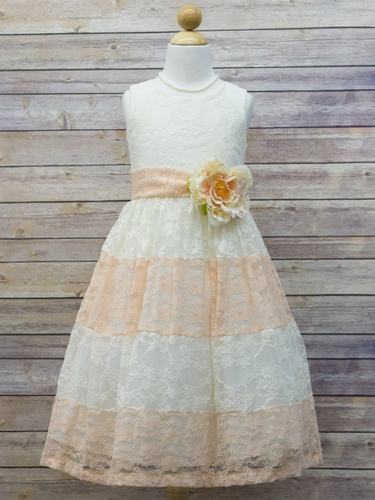 Ivory & Peach Lace Color Block Dress