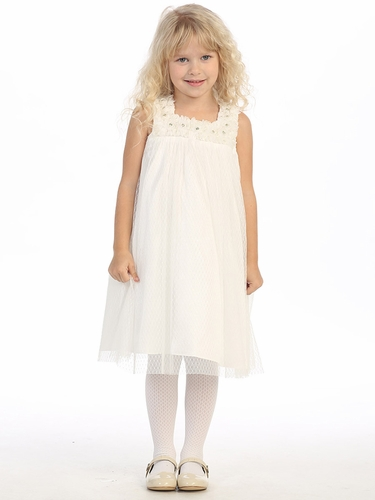 Ivory Pearled Rosebud Mesh Dress