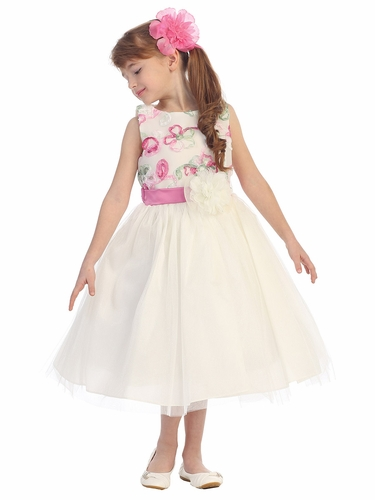 Ivory/Pink Floral Embroidery Tulle Dress