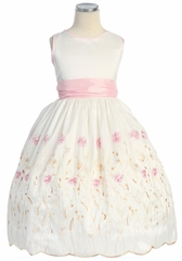 Ivory/Pink Flower & Stem Embroidered Taffeta Dress