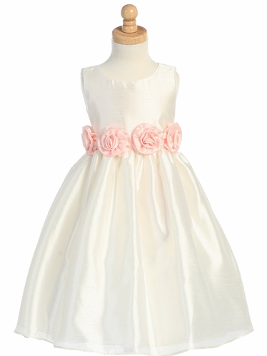 Ivory/Pink Shantung Organza Dress with Detachable Flowered Sash