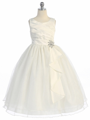 Ivory Pleated Bodice w/ Double Layer Skirt Dress