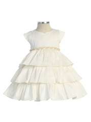 Ivory Poly Dupioni Dress w/Braided Trim