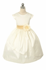 Ivory Poly Dupioni Dress w/Sleeves