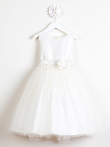Ivory Poly Dupioni Dress w/ Tulle Skirt & Adorned Waistline