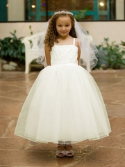 Ivory Princess Beaded Bodice w/ Layered Tulle Skirt Dress