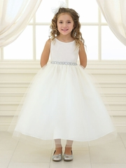 Ivory Rhinestone Waistband Tulle Dress