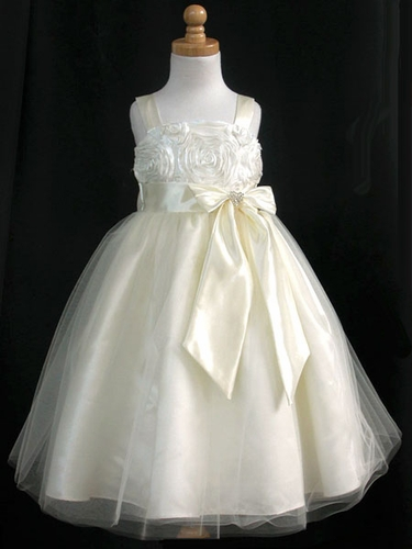 Ivory Ribbon Embroidered Taffeta Bodice & Satin Skirt w/Tulle Overlay