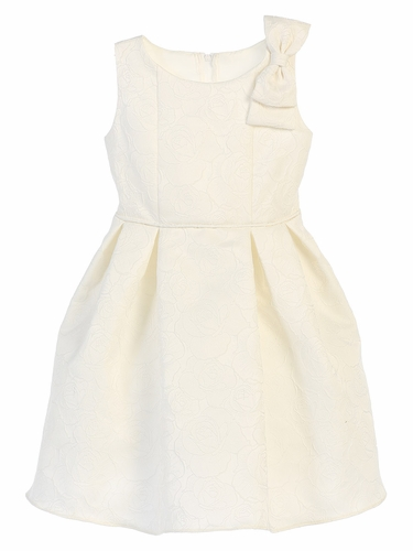Ivory Rose Jacquard Dress w/ Shoulder Bow