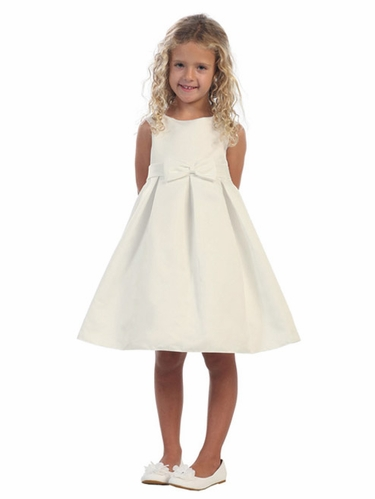 Ivory Satin A-Line Dress w/ Portrait Neck & Pleated Skirt